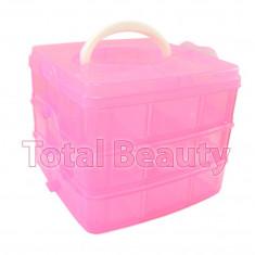 Cutie compartimentata pentru accesorii manichiura - 3 nivele cu maner - 18 slots - Trusa manichiura