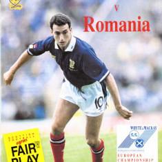 Program meci fotbal SCOTIA - ROMANIA 12.09.1990