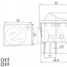 Intrerupator simplu KCD2-201N cu led comutator mod basculant 15 A 250V