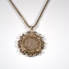Lant argint, pandantiv banut Georgivs V, 1935, interbelic, retro, piesa colectie - Lantisor argint, Unisex