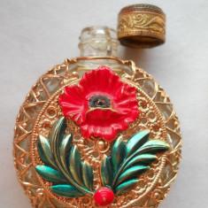Superba si Veche Sticluta de Parfum de poseta Franta Vintage imbracata manual