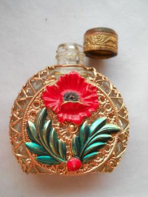 Superba si Veche Sticluta de Parfum de poseta Franta Vintage imbracata manual foto