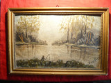 Tablou ulei pe carton - La Pescuit- semnat Amelica ,dim. = 35 x 24 cm