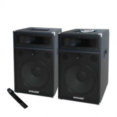 SISTEM PROFESIONAL 2 BOXE ACTIVE CU MIXER, MP3 PLAYER, RADIO, MICROFON WIRELESS. - Echipament karaoke