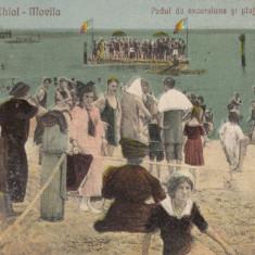 TECHIR-GHIOL - MOVILA, PODUL DE EXCURSIUNE SI PLAJA DE LA GHIOL, STAMPILA *929 - Carte Postala Dobrogea dupa 1918, Circulata, Printata