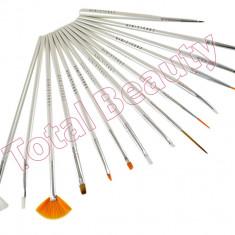 Set 15 Pensule Manichiura Unghii False - Alb Pensule modele unghii cu gel acryl - Ustensile