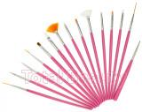 Set 15 Pensule Manichiura Unghii False - Roz Pensule unghii gel acryl cu model