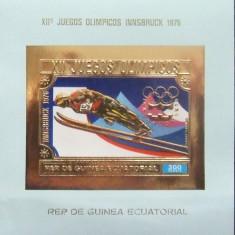 GUINEEA EQ. 1976 - OLIMPIADA INNSBRUCK 1 S/S, NEOBLIT CU FOITA AUR - GEQS 067