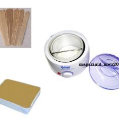 Kit pentru epilat cu ceara traditionala 1 kg, incalzitor si spatule - Kit epilare ceara