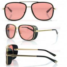 Ochelari similar Matsuda - model IRON MAN - golden rose, Unisex, Negru, Dreptunghiulari, Plastic, Protectie UV 100%