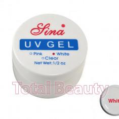 Gel Constructie Unghii UV Sina 15 ml White French - Gel UV Alb - Gel unghii Sina, Gel de constructie