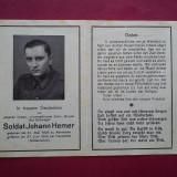 NECROLOG MILITAR GERMAN JOHANN HEMER (1944) - Fotografie veche