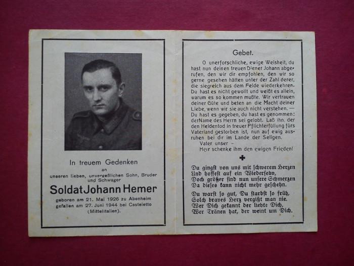 NECROLOG MILITAR GERMAN JOHANN HEMER (1944) foto mare