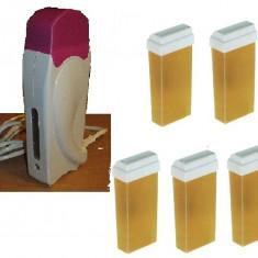 Kit pentru epilat cu 5 ceara de unica folosinta si incalzitor