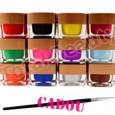 Set 12 geluri UV Color Mate EzFlow, set gel UV Color Mat + CADOU Pensule Pictura - Gel unghii, Gel colorat