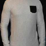 Pulover pulovere barbati cu petic la coate Bluze model primavara - Pulover barbati, Marime: XXL, Culoare: Din imagine, La baza gatului, Bumbac