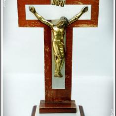 CRUCIFIX VECHI PENTRU MASĂ, MARE, FĂCUT DIN LEMN ȘI ANTIMONIU, ISUS HRISTOS!