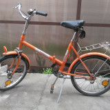 BICICLETA ORIGINALA PEGAS PLIABILA - PRACTIC 3120 - Bicicleta pliabila, Numar viteze: 1, Alb-Portocaliu