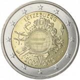 LUXEMBURG 2 euro comemorativa2012 TYE-10ani euro, UNC, Europa, Cupru-Nichel