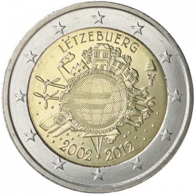 LUXEMBURG 2 euro comemorativa2012 TYE-10ani euro, UNC foto