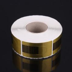 Rola 500 de sabloane aurii pentru constructie unghii false, Dreptunghi Auriu - Ustensile