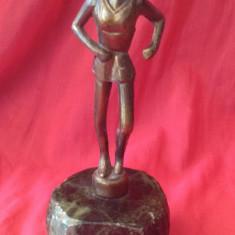 Statueta - alergator din metal pe suport de marmura !!! - Metal/Fonta