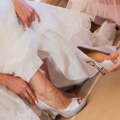 Pantofi de mireasa sau de gala - Pantof dama Puma, Culoare: Argintiu, Marime: 38, Piele naturala, Cu toc