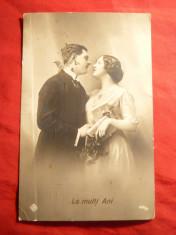 Ilustrata - Felicitare de Craciun - Scena Romantica 1915 foto
