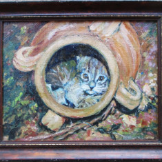 Pisica din ulcior - semnat  De Clerck Geo (pictura)