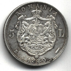 5 LEI 1880 CU SEMNATURA GRAVORULUI SUB GAT  STARE EXCELENTA AUNC CU PATINA