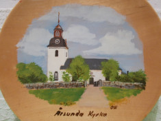 BISERICA ,  veche PICTURA in ULEI  PE LEMN ,  / Aplica de perete / Tablou lemn foto