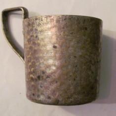 CY - Suport vechi, pentru pahar, frumos, din alama argintata, Vase