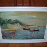 Marina, tablou vechi in ulei pe carton - Pictor roman, Marine, Impresionism