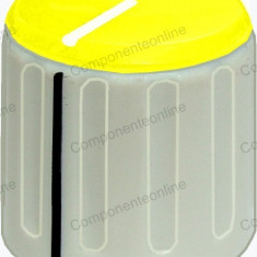 Buton pentru potentiometru, 20mm, plastic, gri-galben, 20x19mm - 127131