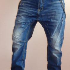 Blugi cu semi tur lasat si bretele incluse pentru barbati 2015 - Blugi barbati, Marime: 36, Culoare: Albastru, Lungi, Cu aplicatii, Bootcut