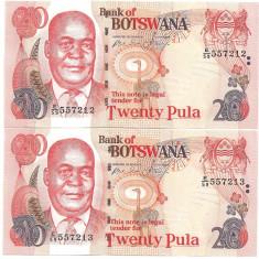 BOTSWANA 20 PULA 2002 AUNC - lot 2 buc. serii consecutive - pret per lot - bancnota africa