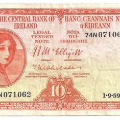 Irlanda 10 Shillings 1959 F - bancnota europa