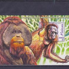 Fauna, maimute, Malaezia. - Timbre straine, Nestampilat