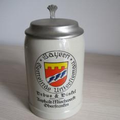 Halba  de bere din ceramica 0,5 L cu capac ,  Bayern - Piesa  de colectie  !