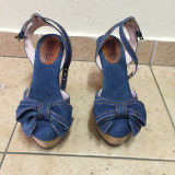 Sandale RED VALENTINO, f frumoase, din blug, mar.39, ORIGINALE 100%!! - Sandale dama, Culoare: Albastru, Textil