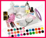 Kit set unghii false cu 30 geluri colorate UV tipsuri gel UV constructie pensule, Sina