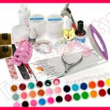 Kit set Unghii false Sina cu 30 geluri colorate UV tipsuri gel UV constructie pensule