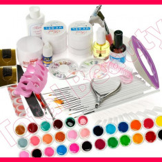 Kit set unghii false cu 30 geluri colorate UV tipsuri gel UV constructie pensule Sina