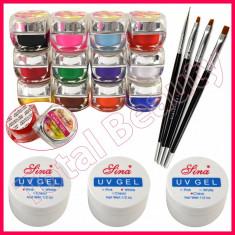 Kit unghii false cu geluri colorate UV gel de constructie pensule manichiura, Fraulein38