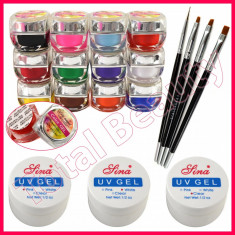 Kit unghii false cu geluri colorate UV gel de constructie pensule manichiura - Gel unghii Fraulein38