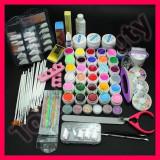 Kit unghii false cu gel UV de constructie 30 geluri colorate tipsuri pensule, Sina