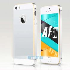 Iphone 5/5s - Bumper Aluminiu cu Capac Spate din Plastic Silver - Bumper Telefon Apple, Argintiu