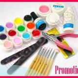 Kit Unghii false Sina cu gel UV de constructie 12 geluri UV colorate pensule unghii