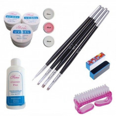 Kit Unghii False - Gel UV Pensule Degresant Buffer Perie Unghii