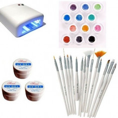 Kit-ul Unghii false Sina, Lampa, Gel UV, Pensule